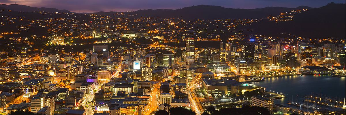 The lights of the Wellington CBD and waterfront at dusk